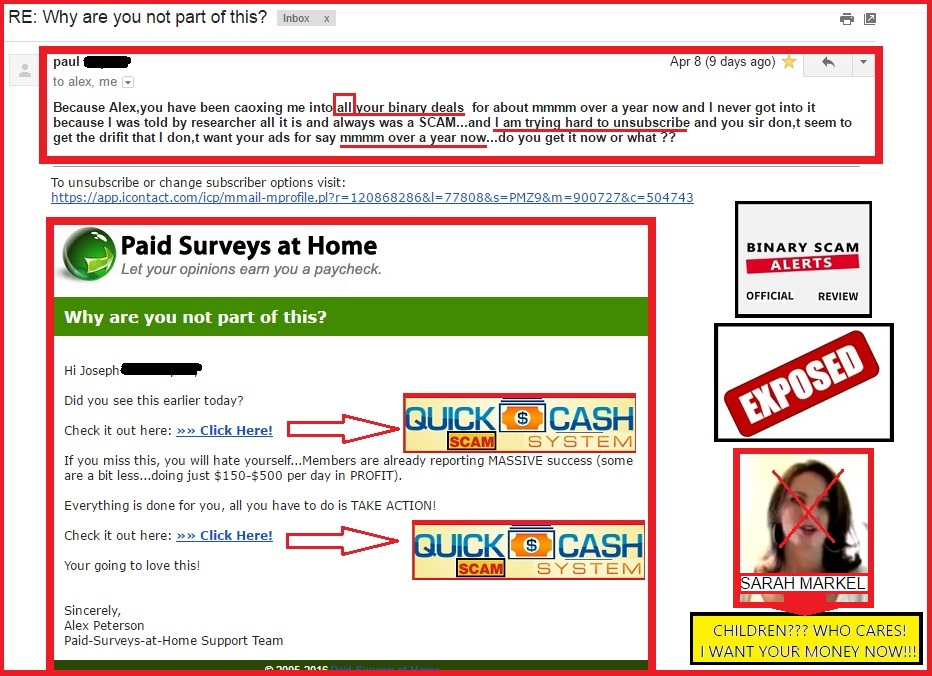 does paid surveys work quick cash system scam promoted by work from home 3009